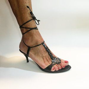Black Ankle Wrapping Small Heel Sandal
